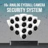 16 Analog Eyeball Camera Security System